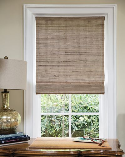 Wendy bellissimo natural woven waterfall shades for Smith and noble natural woven shades
