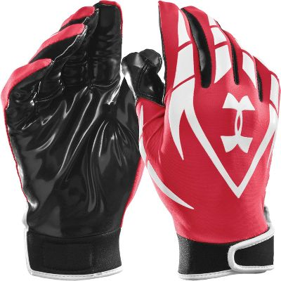 Under Armour Youth Red/Wht HeatGear Receiver Gloves - Equipment - Football - Gloves - Youth