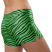 Pizzazz Womens Lime Zebra Glitter Shorts