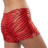 Pizzazz Womens Red Zebra Glitter Shorts