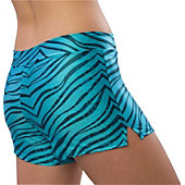Pizzazz Womens Turquoise Zebra Glitter Shorts