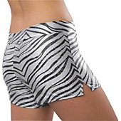 Pizzazz Womens White Zebra Glitter Shorts