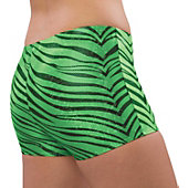 Pizzazz Adult Lime Zebra Glitter Boy Cut Brief