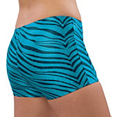 Pizzazz Adult Turquoise Zebra Glitter Boy Cut Brief