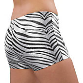 Pizzazz Adult White Zebra Glitter Boy Cut Brief