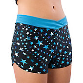 Pizzazz Adult Turquoise Superstar Crossover Boy Cut Shorts