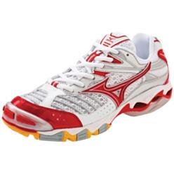 Mizuno Women's Wave Lightning 6 White/Red Volleyball Shoes