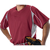 Alleson Adult 2 Button Shortsleeve Mock Mesh Jersey