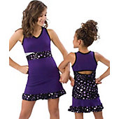 Pizzazz Adult Purple Superstar Panel Shirt  w/ Keyhole Back