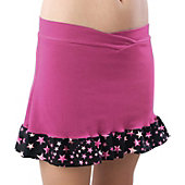 Pizzazz Women Pink Superstar Ruffled Skirt w/ Boy Cut Brief
