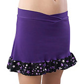 Pizzazz Women Purple Superstar Ruffled Skirt w/ Boy Cut Brief