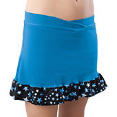 Pizzazz Women Turquoise Superstar Ruffled Skirt w/ Boy Cut Brief