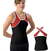 Pizzazz Youth Blk/Red/Wht Tri-Color Top with X-back