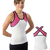 Pizzazz Adult Wht/Pnk/Blk Tri-Color Top with X-back