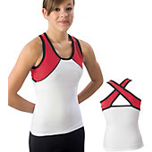 Pizzazz Adult Wht/Red/Blk Tri-Color Top with X-back