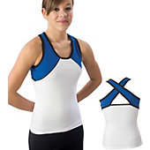 Pizzazz Adult Wht/Roy/Blk Tri-Color Top with X-back