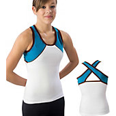 Pizzazz Adult Wht/Turq/Brwn Tri-Color Top with X-back