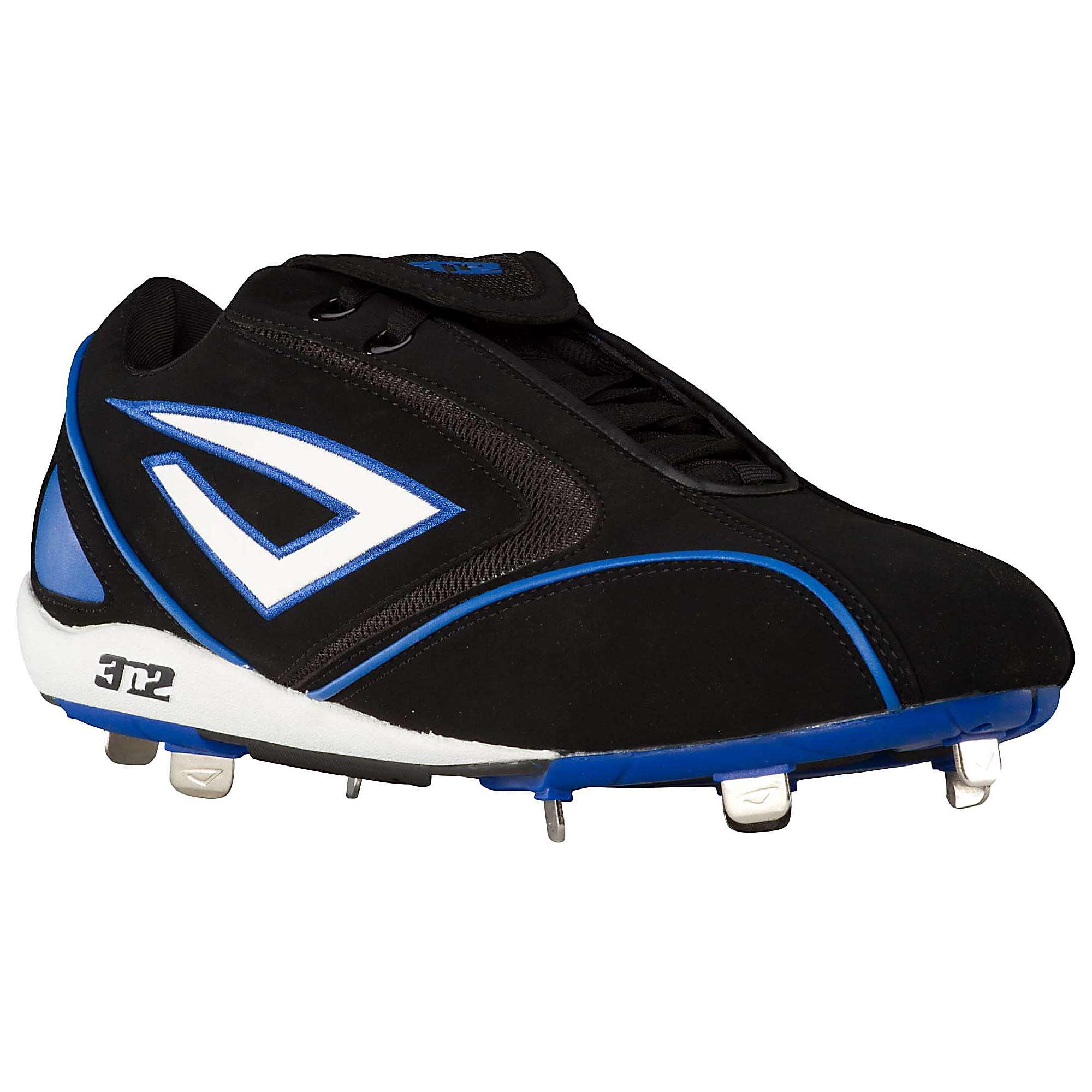 3N2 Men's Pyro Low Metal Baseball Cleats Shoes Black ...