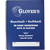 Glover's 9- to 15-Player Baseball/Softball Scorebook (30 Games)