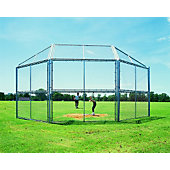 DIAMOND CHAIN LINK BACKSTOP 10FT W/HOOD & WINGS