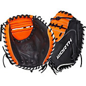 "Worth Century Series Black/Orange 33"" Softball Catcher's Mitt"