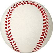HD SPORTS WHITE RUBBER BB W/RED SEAM (INCHES)