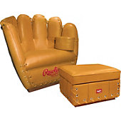 Rawlings Leather Glove Chair and Ottoman Combo