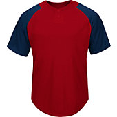 Majestic Men's Cool Base 2-Button Colorblock Baseball Jersey