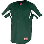 Rawlings Men's Full Button Stretch Baseball Jersey - Dark Green
