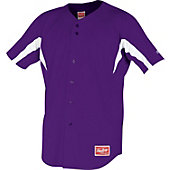 Rawlings Men's Full Button Stretch Baseball Jersey - Purple