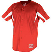 Rawlings Men's Full Button Stretch Baseball Jersey - Scarlet