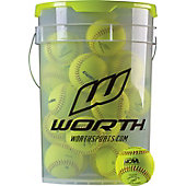 Worth Bucket with NC12L NCAA Practice Softballs (18 Balls)