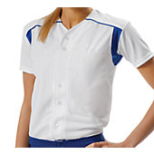 A4 Women's Full Button Short Sleeve Knit Softball Top