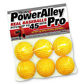 Heater Sports PowerAlley PRO Yellow Dimpled Pitching Machine Real Baseballs  (Pack of 6)