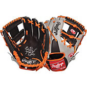 "Rawlings Heart of the Hide Black/Orange Pro I Web 11.5"" Baseball Glove"