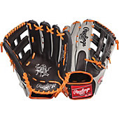 "Rawlings Heart of the Hide Black/Orange 12.75"" Baseball Glove"