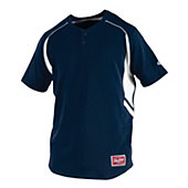 Rawlings Adult 2-Button Henley Baseball Jersey