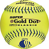 "Worth 12"" USSSA Gold Dot Classic Slowpitch Softballs (Dozen)"