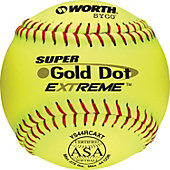 "Worth 12"" ASA Gold Dot Extreme Slowpitch Softball (Dozen)"