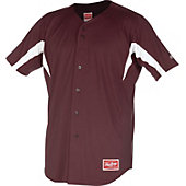 Rawlings Youth Full Button Stretch Baseball Jersey with Inserts