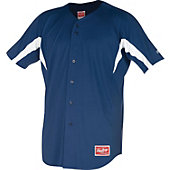Rawlings Youth Full Button Stretch Baseball Jersey - Navy