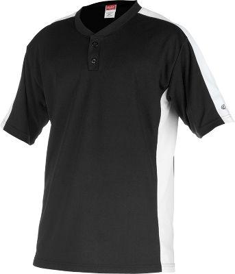 Rawlings Youth Flatback Mesh Black/White 2-Button Jersey