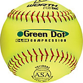 "Worth 11"" ASA Green Dot Slowpitch Softball (Dozen)"
