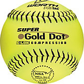 "Worth 12"" NSA Super Gold Dot Slowpitch Softball (Dozen)"