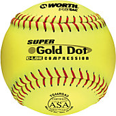 "Worth 12"" ASA Super Gold Dot Slowpitch Softball (Dozen)"