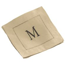 Set of 12 Monogrammed Linen Cocktail Napkins