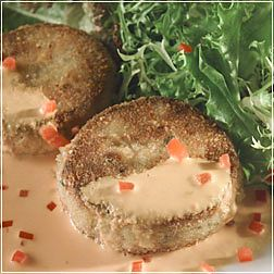 Sauteed Crabcakes with Sweet Red Pepper Sauce