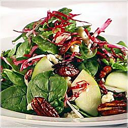 Spinach and Blue Cheese Salad with Sliced Apples