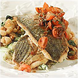 Pan-seared Sea Bass with White Bean Ragout