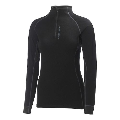 Womens Helly Hansen Warm Flow High Neck 1/2 Zip Long Sleeve Technical Top - Natural ...